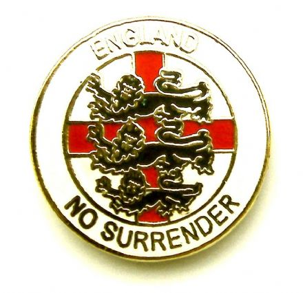 """No Surrender"" England Badge  - White"